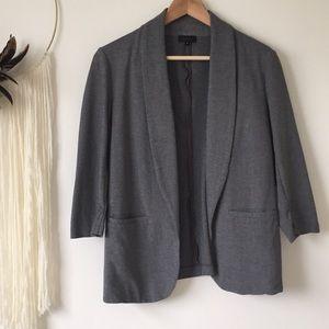 Tobias   oversized grey 3/4 ruched sleeve blazer